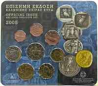 Griechenland : 3,88 Euro original Kursmünzensatz der griechischen Münze  2005 Stgl. KMS Griechenland 2005