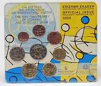 Griechenland : 3,88 Euro original Kursmünzensatz aus Griechenland mit 2 Euro WWU / EMU  2009 Stgl. KMS Griechenland 2009