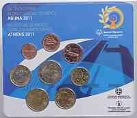 Griechenland : 3,88 Euro original Kursmünzensatz der griechischen Münze  2011 Stgl.