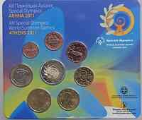 Griechenland : 3,88 Euro original Kursmünzensatz der griechischen Münze mit 2 Euro Special Olympics  2011 Stgl.