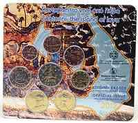 Griechenland : 3,88 Euro KMS Griechenland Santorini mit 2 Euro Kursmünze Stier  2012 Stgl.