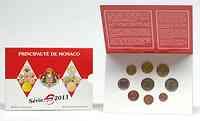 Monaco : 5,88 Euro original Kursmünzensatz aus Monaco + 2 Euro Gedenkmünze Hochzeit  2011 Stgl. KMS Monaco 2011