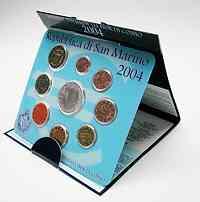 San Marino : 8,88 Euro original Kursmünzensatz aus San Marino mit 5 Euro Gedenkmünze  2004 Stgl. KMS San Marino 2004