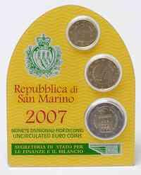 San Marino 2,30 Euro Minikit - Set aus 2 Euro + 10 Cent + 20 Cent 2007 Stgl.