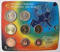 Spanien : 3,88 Euro Original Kursmünzensatz aus Spanien 2000 bfr