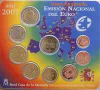 Spanien : 5,88 Euro original Kursmünzensatz aus Spanien mit 2 Euro Gedenkmünze Römische Verträge  2007 Stgl.