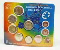 Spanien : 5,88 Euro original Kursmünzensatz aus Spanien mit 2 Euro Gedenkmünze Alhambra  2011 Stgl. KMS Spanien 2011 BU