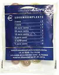 Lettland : 14,23 Euro Starterkit zu 2x2 Euro, 4x1 Euro, 7x50 Cent, 8x20 Cent, 7x 10 Cent, 5x5 Cent, 6x2 Cent, 6x1 Cent  2014 vz/Stgl.