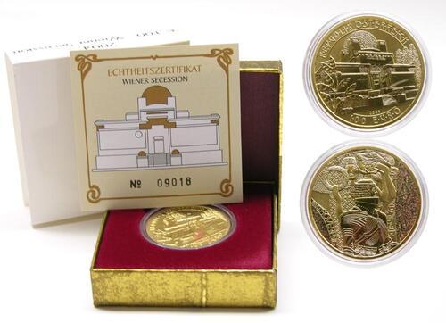 Lieferumfang:Österreich : 100 Euro Wiener Secession im Originaletui mit Zertifikat  2004 Stgl.