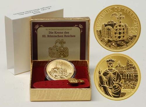 Lieferumfang:Österreich : 100 Euro Die Krone des Heiligen Römischen Reiches inkl. Originaletui und Zertifikat  2008 PP 100 Euro Kronen der Habsburger 2008