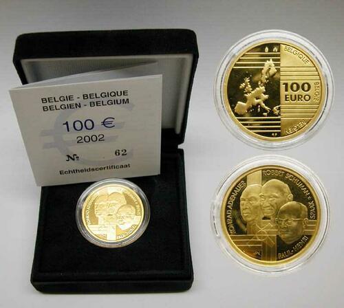 Lieferumfang:Belgien : 100 Euro Gründerväter der EU  inkl. Originaletui und Zertifikat  2002 PP
