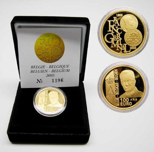 Lieferumfang:Belgien : 100 Euro Franc Germinal, inkl. Originaletui und Zertifikat  2003 PP