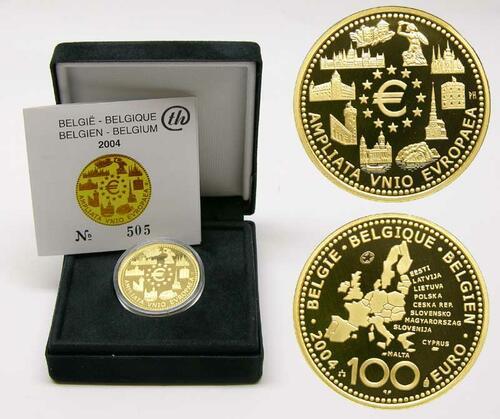 Lieferumfang:Belgien : 100 Euro EU-Erweiterung inkl. Originaletui und Zertifikat  2004 PP