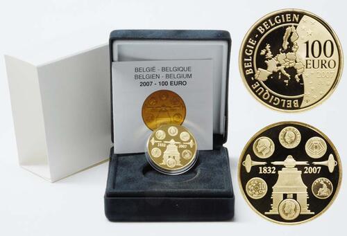 Lieferumfang:Belgien : 100 Euro 175 Jahre Münzprägung inkl. Originaletui und Zertifikat  2007 PP