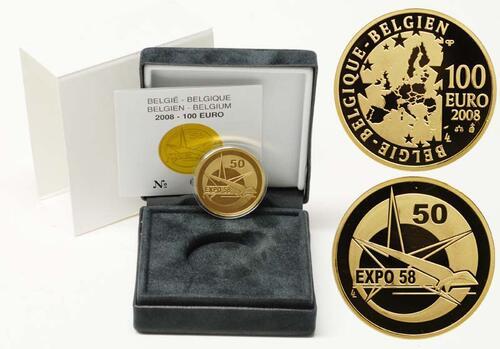 Lieferumfang:Belgien : 100 Euro Expo Brüssel 1958 inkl. Originaletui und Zertifikat  2008 PP 100 Euro Expo Belgien 2008
