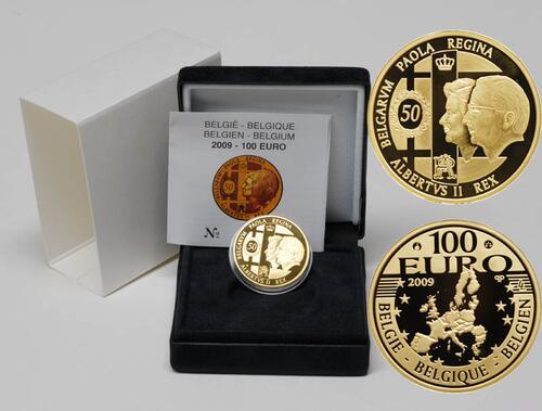 Lieferumfang:Belgien : 100 Euro 50. Hochzeitstag von König Albert II. und Donna Paola inkl. Originaletui und Zertifikat  2009 PP 100 Euro Belgien 2009