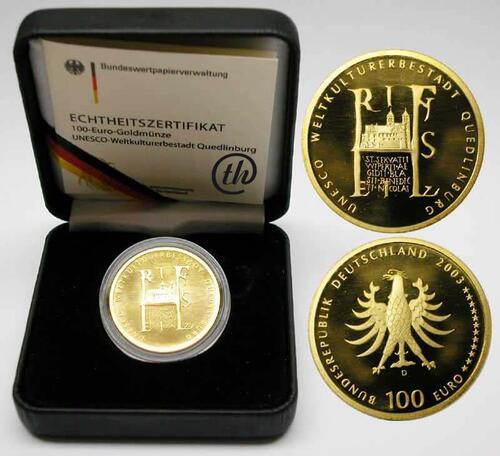 Lieferumfang:Deutschland : 100 Euro Quedlinburg Buchstabe unserer Wahl  2003 Stgl.