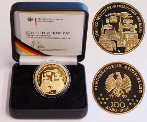 Lieferumfang:Deutschland : 100 Euro Weimar Buchstabe unserer Wahl  2006 Stgl. 100 Euro Weimar; Goldeuro 2006; 100 Euro Gold 2006 Deutschland
