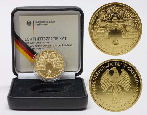 Lieferumfang:Deutschland : 100 Euro Würzburger Residenz und Hofgarten  2010 Stgl. 100 Euro Würzburg 2010 D