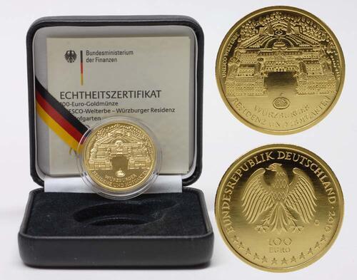 Lieferumfang:Deutschland : 100 Euro Würzburger Residenz und Hofgarten  2010 Stgl. 100 Euro Würzburg 2010 G