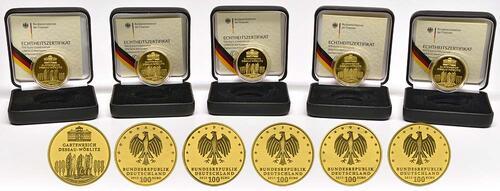 Lieferumfang:Deutschland : 100 Euro Gartenreich Dessau-Wörlitz Komplettset A,D,F,G,J 5 Münzen  2013 Stgl.