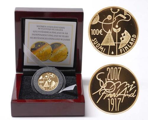 Lieferumfang:Finnland : 100 Euro 90. Jahrestag der Unabhängigkeit inkl. Originaletui und Zertifikat  2007 PP