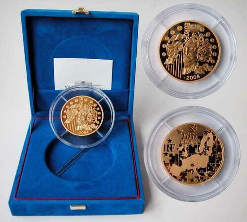 Lieferumfang:Frankreich : 100 Euro Europa-Münze, incl. Originaletui und Zertifikat  2004 PP
