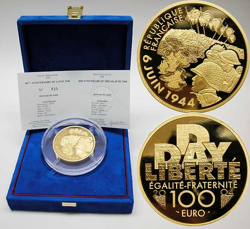 Lieferumfang:Frankreich : 100 Euro 60. Jahrestag D-Day, inkl. Originaletui und Zertifikat  2004 PP