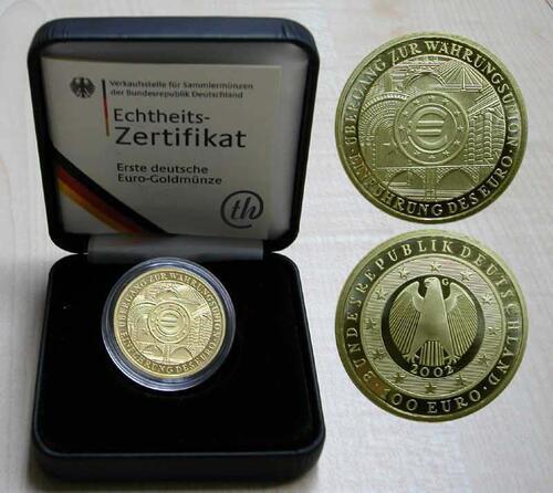 Lieferumfang:Deutschland : 100 Euro Einführung des Euro-Bargeldes Münzzeichen unserer Wahl  2002 Stgl. 100 Euro Währungsunion