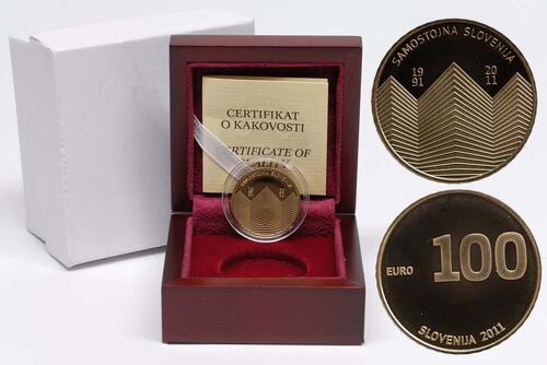 Lieferumfang:Slowenien : 100 Euro 20 Jahre Unabhängigkeit Sloweniens  2011 PP