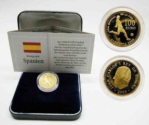 Lieferumfang:Spanien : 100 Euro zur Fußball WM in Deutschland inkl. Etui und Zertifikat  2003 Stgl.