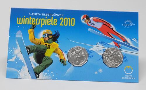 Lieferumfang:Österreich : 10 Euro 2 x 5 Euro Skisprung und Snowboard im Originalblister  2010 Stgl. 2x 5 Euro Österreich 2010