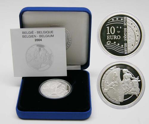 Lieferumfang:Belgien : 10 Euro EU-Erweiterung inkl. Originaletui und Zertifikat  2004 PP