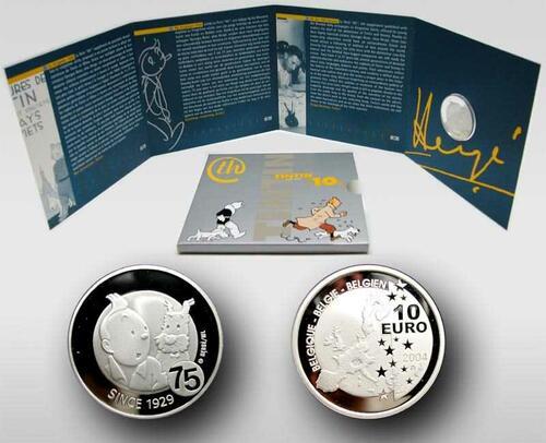 Lieferumfang:Belgien : 10 Euro 75 Jahre Tim und Struppi im Originalblister  2004 PP