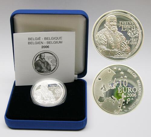 Lieferumfang:Belgien : 10 Euro Justus Lipsius inkl. Originaletui und Zertifikat  2006 PP 10 Euro Belgien 2006, Justus Lipsius