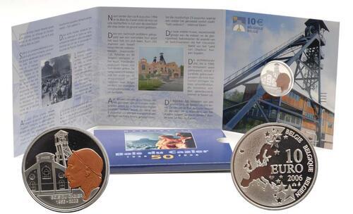 Lieferumfang:Belgien : 10 Euro Marcinelle Grubenunglück im Originalblister - Sonderausgabe farbig !  2006 PP 10 Euro Marcinelle farbig 2006 Belgien