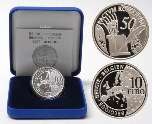 Lieferumfang:Belgien : 10 Euro Römische Verträge  2007 PP 10 Euro Römische Verträge