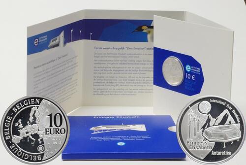 """Lieferumfang:Belgien : 10 Euro Station """"Prinzessin Elisabeth"""" in der Antarktis im Originalblister  2007 PP 10 Euro Belgien Polarjahr"""