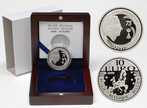Lieferumfang:Belgien : 10 Euro 75. Geburtstag König Albert II inkl. Originaletui und Zertifikat  2009 PP