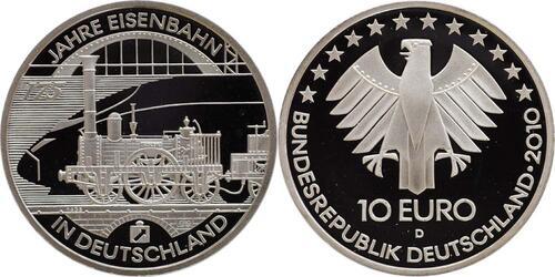 Lieferumfang:Deutschland : 10 Euro 175 Jahre Eisenbahn in Deutschland  2010 PP