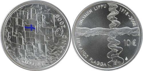 Lieferumfang:Finnland : 10 Euro Finnische Flagge in Originalkapsel mit Zertifikat  2008 Stgl. 10 Euro Finnische Flagge 2008