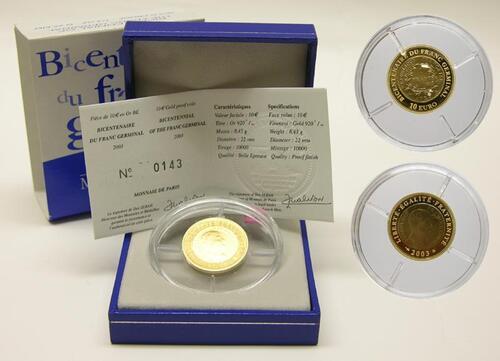 Lieferumfang:Frankreich : 10 Euro Franc Germinal inkl. Originaletui und Zertifikat  2003 PP