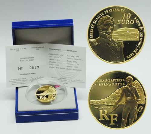 Lieferumfang:Frankreich : 10 Euro Bernadotte inkl. Originaletui und Zertifikat  2006 PP 10 Euro Bernadotte