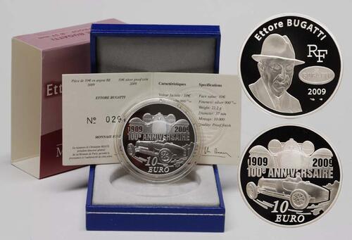 Lieferumfang:Frankreich : 10 Euro Ettore Bugatti inkl. Originaletui und Zertifikat  2009 PP 10 Euro Bugatti