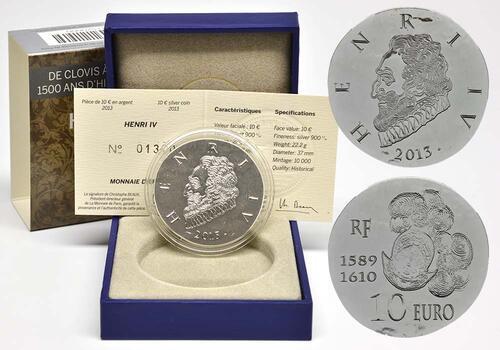 Lieferumfang:Frankreich : 10 Euro Henri IV.  2013 Stgl.
