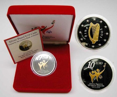 Lieferumfang:Irland : 10 Euro Special Olympics in Originalkassette mit Zertifikat  2003 PP