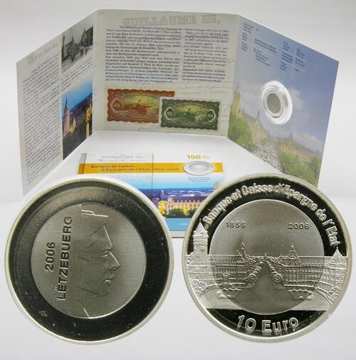 Lieferumfang:Luxemburg : 10 Euro Titan/Silber 150 Jahre BCEE in Originalblister  2006 PP 10 Euro Luxemburg Titan; 10 Euro Luxemburg Staatsbank 2006 PP