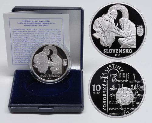 Lieferumfang:Slowakei : 10 Euro Zobor Urkunden 900. Jahrestag  2011 PP