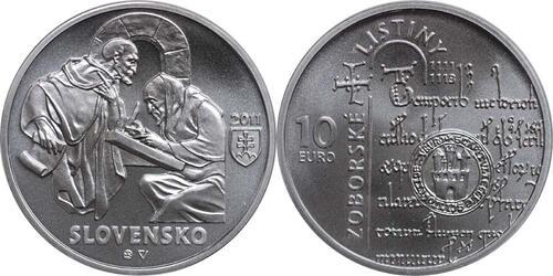Lieferumfang:Slowakei : 10 Euro Zobor Urkunden 900. Jahrestag  2011 Stgl.