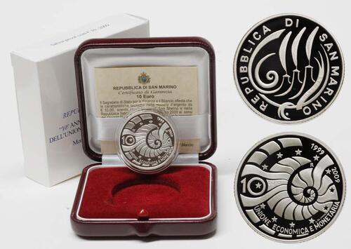 Lieferumfang:San Marino : 10 Euro 10 Jahre Europäische Wirtschafts- und Währungsunion  2009 PP 10 Euro Währungsunion 2009 PP
